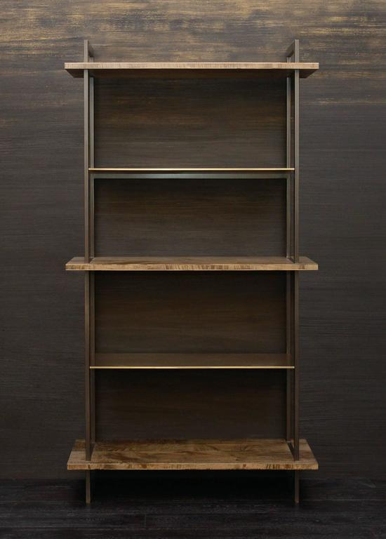 Burnished Gotham Bookcase - Customizable Wood and Metal For Sale