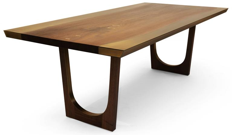 Nola Dining Table with Walnut and Bronze - Customizable