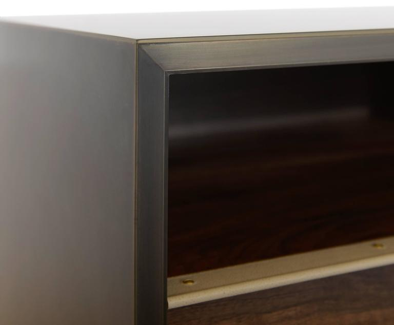 Henry End Table Customizable Metal, Resin, Wood and Leather In New Condition For Sale In Brooklyn, NY