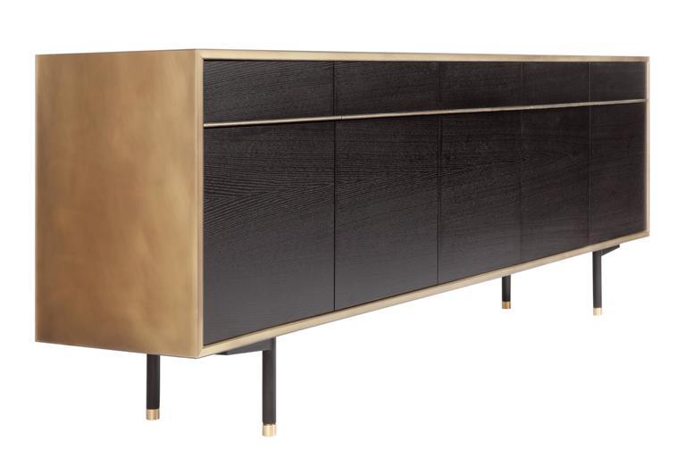 Modern Tompkins Five-Door Sideboard in Customizable Metal, Resin and Wood For Sale