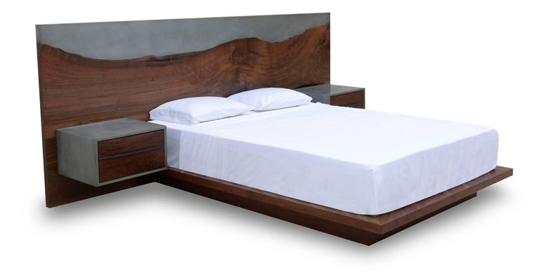 Modern Nola Bed, Customizable Wood, Metal and Resin, King-Size For Sale