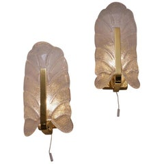 Brass Wall Lights Set of Two Carl Fagerlund Orrefors, 1960s, Swedish