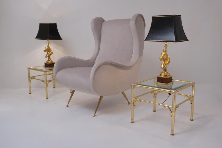 Maison Charles Horse Lamps Pair of Brass and Wood, circa 1970s, French In Good Condition For Sale In London, GB