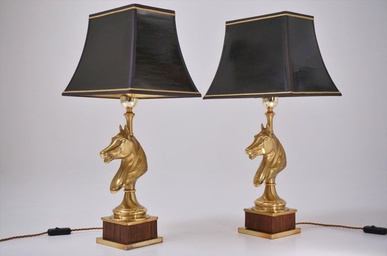 Late 20th Century Maison Charles Horse Lamps Pair of Brass and Wood, circa 1970s, French For Sale