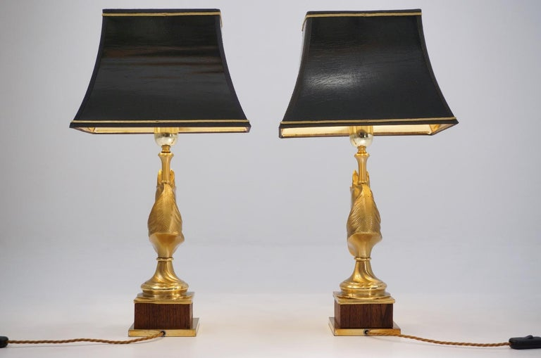 Maison Charles Horse Lamps Pair of Brass and Wood, circa 1970s, French For Sale 1
