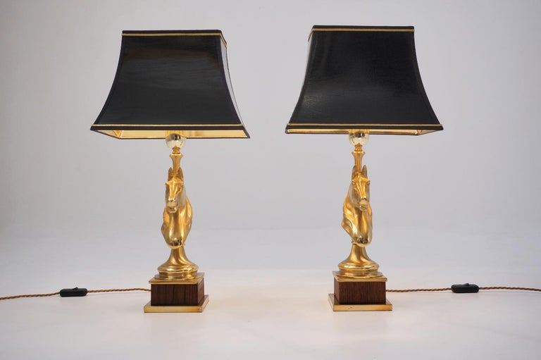 Maison Charles Horse Lamps Pair of Brass and Wood, circa 1970s, French For Sale 5