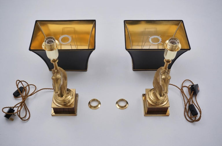 Maison Charles Horse Lamps Pair of Brass and Wood, circa 1970s, French For Sale 6