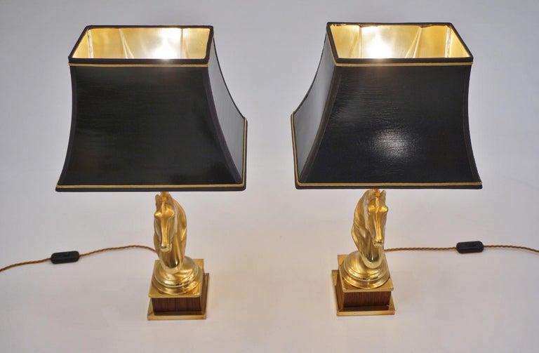 Maison Charles Horse Lamps Pair of Brass and Wood, circa 1970s, French For Sale 8