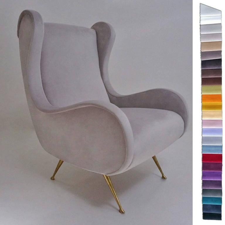 Marco Zanuso Senior armchair, Contemporary Collection 1950s style.   In new Ivory colour velvet upholstery with solid handmade brass legs, Italian. Made exclusively for Roomscape`s Contemporary Collection.  This armchair is available to order and