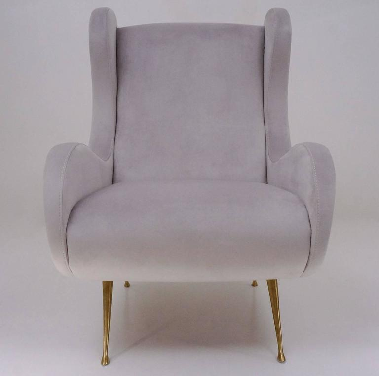 Marco Zanuso Style Senior Armchair, Available in 25 Colors of Velvet, Italian In Excellent Condition For Sale In London, GB