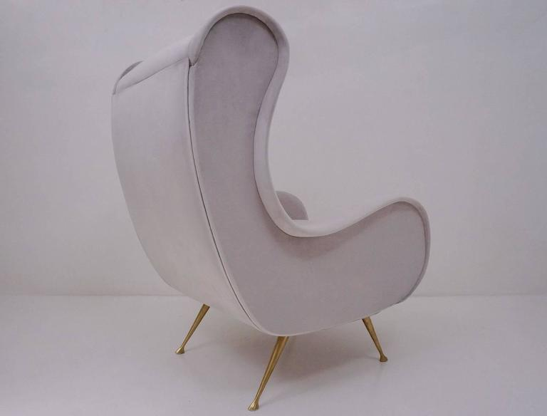 Mid-Century Modern Marco Zanuso Style Senior Armchair, Available in 25 Colors of Velvet, Italian For Sale