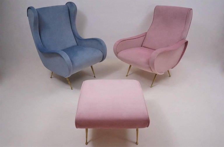Marco Zanuso Style Senior Armchair, Available in 25 Colors of Velvet, Italian For Sale 9