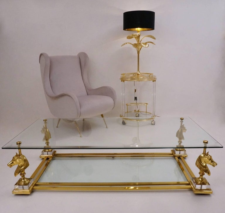 Maison Charles Cheval Coffee Table, Brass and Lucite, circa 1970s, French 4