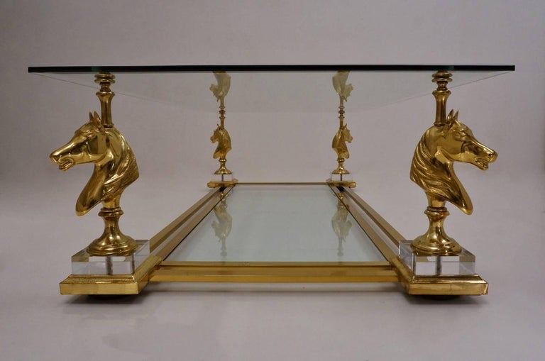 Late 20th Century Maison Charles Cheval Coffee Table, Brass and Lucite, circa 1970s, French For Sale