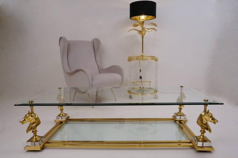 Glass Maison Charles Cheval Coffee Table, Brass and Lucite, circa 1970s, French For Sale