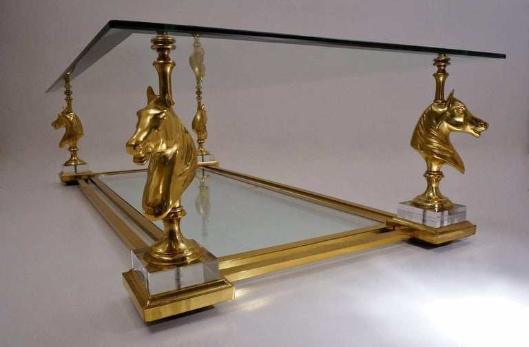 Maison Charles Cheval Coffee Table, Brass and Lucite, circa 1970s, French For Sale 1