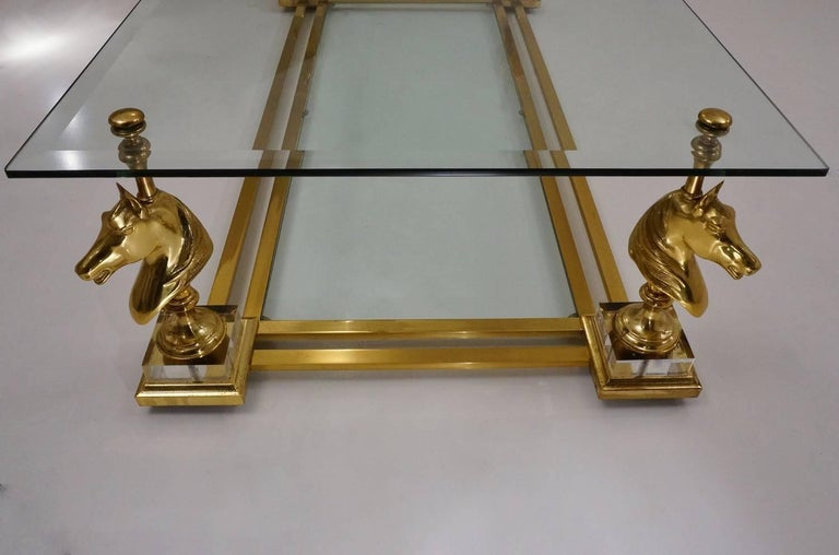 Maison Charles Cheval Coffee Table, Brass and Lucite, circa 1970s, French 8