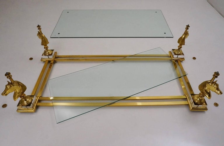 Maison Charles Cheval Coffee Table, Brass and Lucite, circa 1970s, French For Sale 4