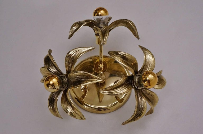 Post-Modern Brass Flower Light in the Style of Willy Daro by Massive, circa 1970s, Belgian For Sale