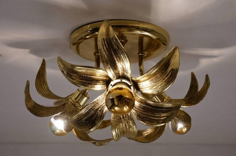 Late 20th Century Brass Flower Light in the Style of Willy Daro by Massive, circa 1970s, Belgian For Sale