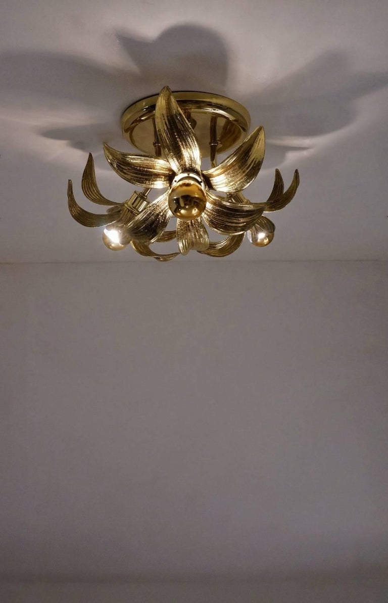 Brass Flower Light in the Style of Willy Daro by Massive, circa 1970s, Belgian For Sale 1