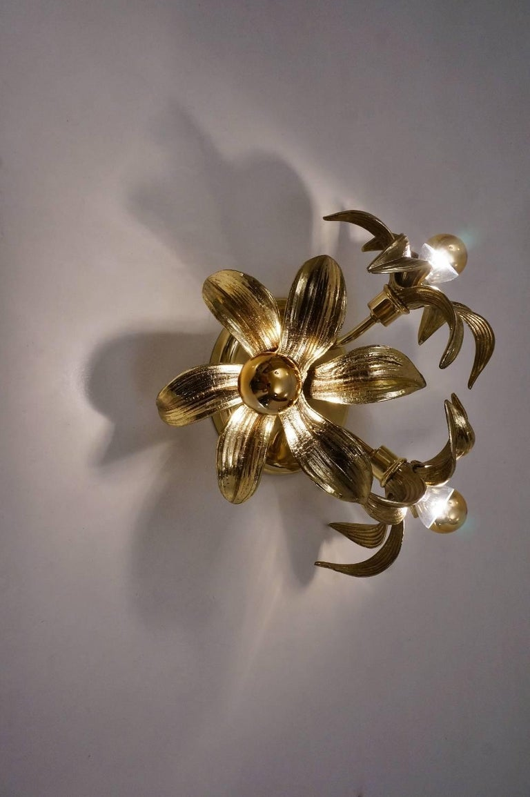 Brass Flower Light in the Style of Willy Daro by Massive, circa 1970s, Belgian For Sale 2