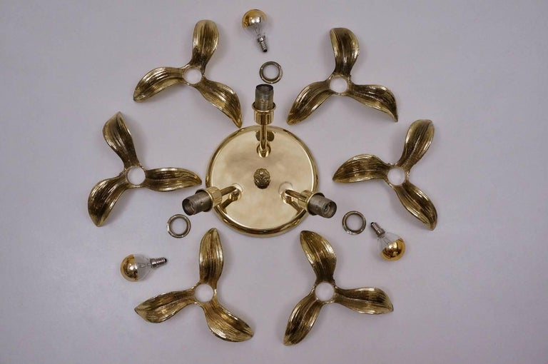 Brass Flower Light in the Style of Willy Daro by Massive, circa 1970s, Belgian For Sale 4