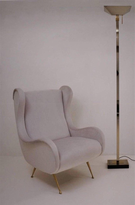 Post-Modern Chrome and Brass Floor Lamp by Deknudt Lighting circa 1970s, Belgian For Sale