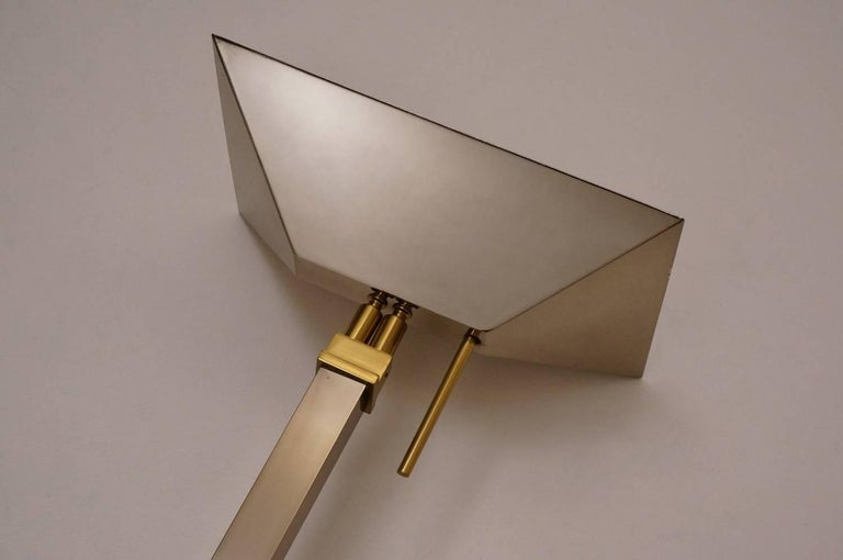 Chrome and Brass Floor Lamp by Deknudt Lighting circa 1970s, Belgian In Good Condition For Sale In London, GB