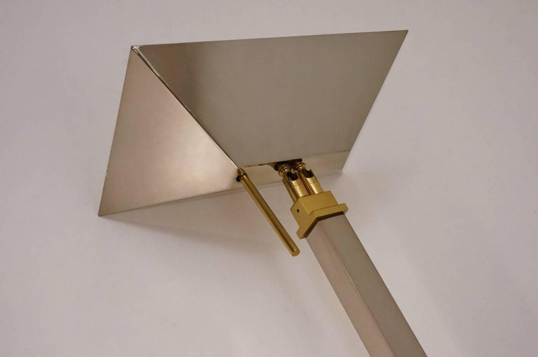 Chrome and Brass Floor Lamp by Deknudt Lighting circa 1970s, Belgian For Sale 2