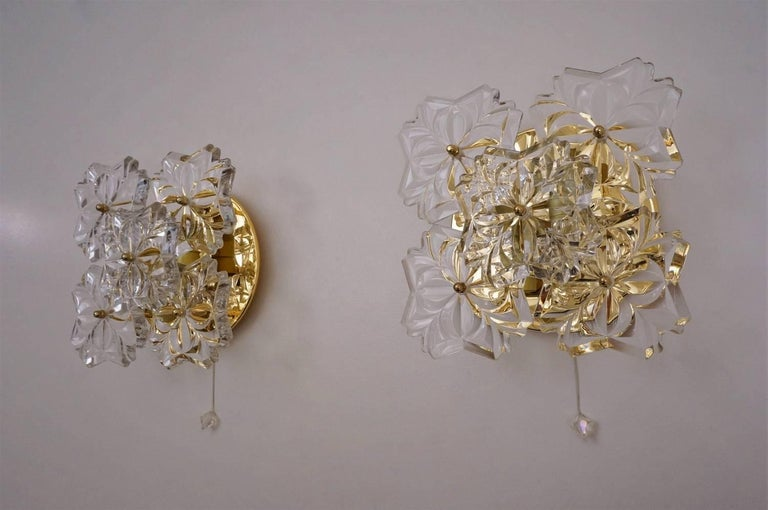 Late 20th Century Gold Floral Sconces, Crystal Flowers, Solken Lighting, circa 1970s, German For Sale