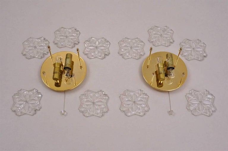 Gold Floral Sconces, Crystal Flowers, Solken Lighting, circa 1970s, German For Sale 2