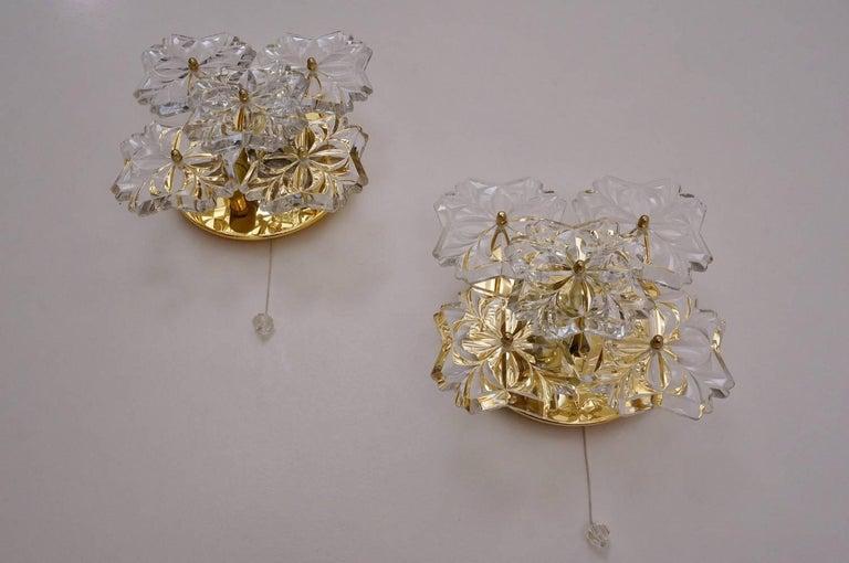 Gold Plate Gold Floral Sconces, Crystal Flowers, Solken Lighting, circa 1970s, German For Sale