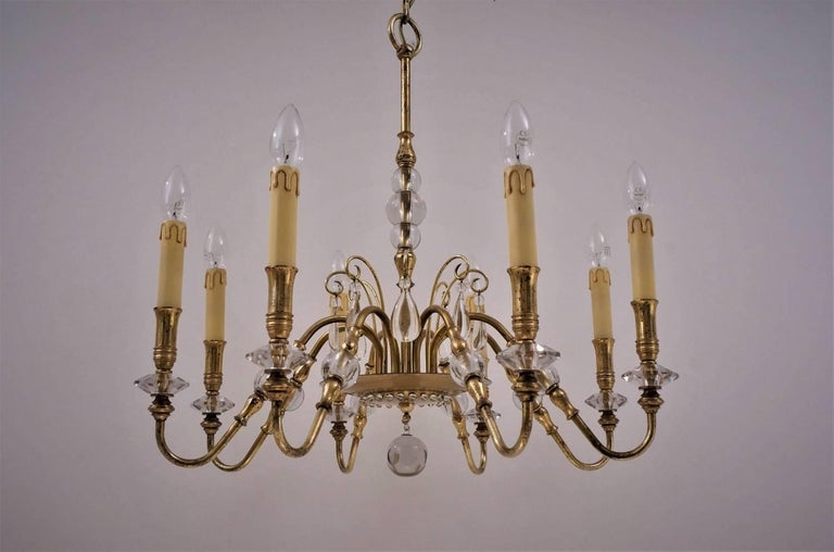 Maison Bagues Style Chandelier, Bronze and Crystal, French, circa 1940s In Good Condition For Sale In London, GB