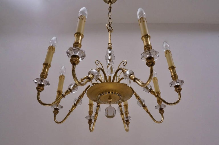 Mid-20th Century Maison Bagues Style Chandelier, Bronze and Crystal, French, circa 1940s For Sale