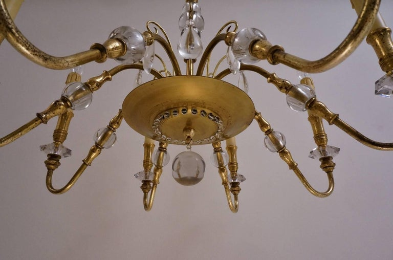 Maison Bagues Style Chandelier, Bronze and Crystal, French, circa 1940s For Sale 4