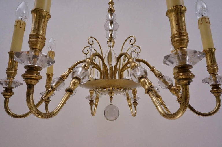 Maison Bagues Style Chandelier, Bronze and Crystal, French, circa 1940s For Sale 3