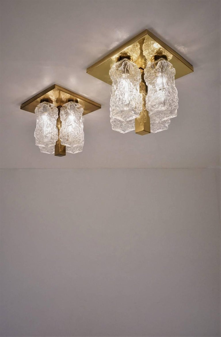 German Hillebrand Lighting Pair Flush Lights Brutalist Glass and Brass, circa 1970s For Sale