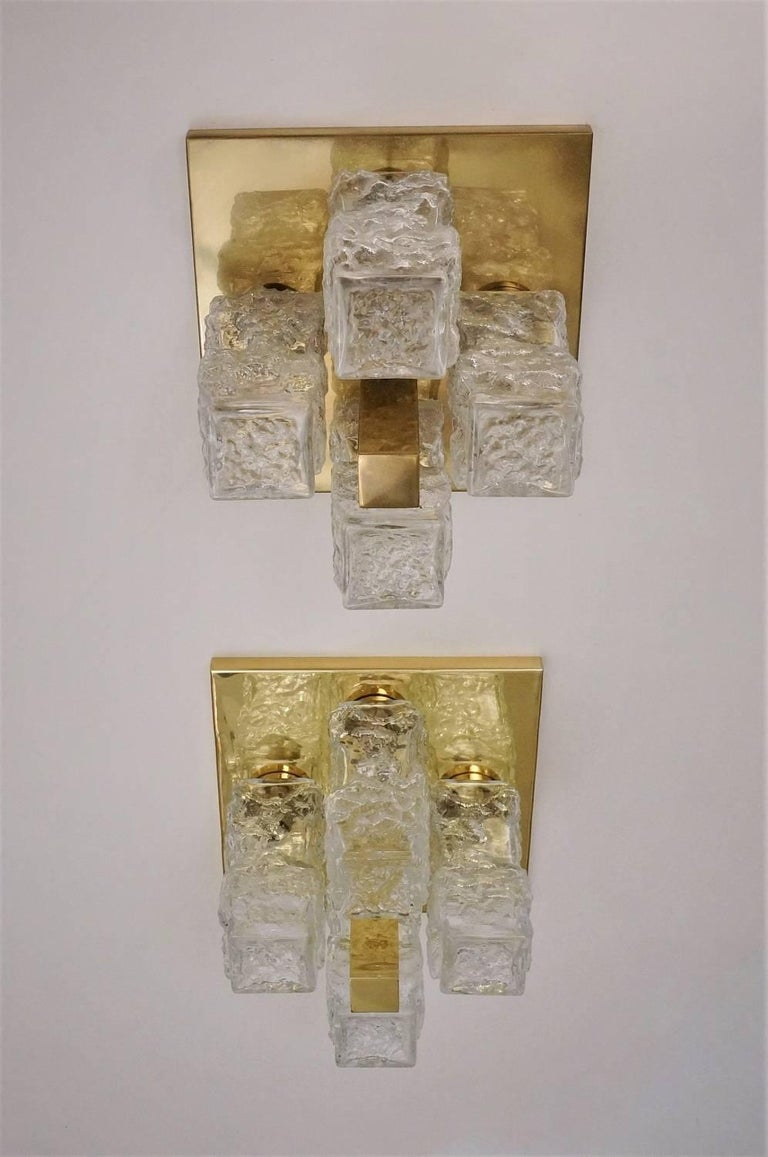 Hillebrand Lighting Pair Flush Lights Brutalist Glass and Brass, circa 1970s In Good Condition For Sale In London, GB