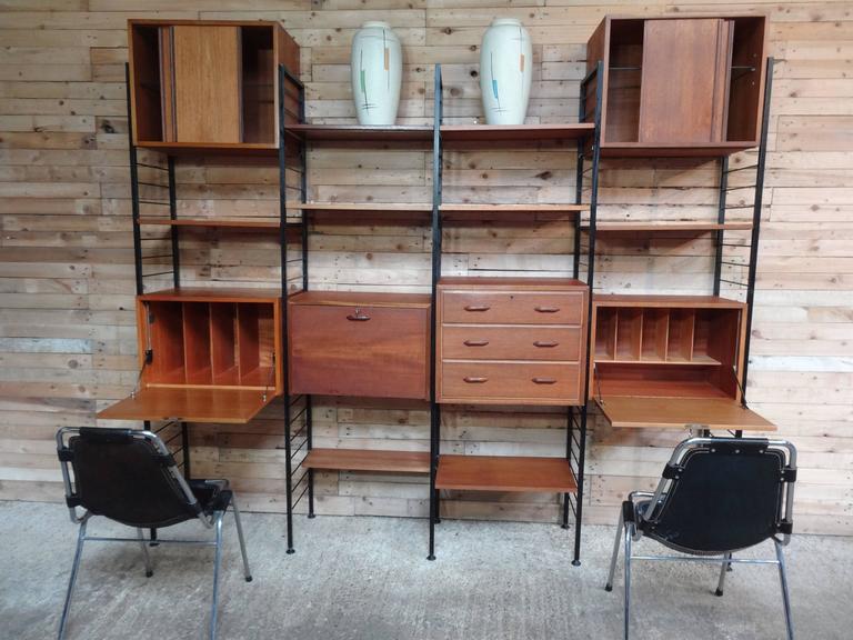 Room Divider/Freestanding Black Metal Teak Wall Shelving/Storage With Two  Desks