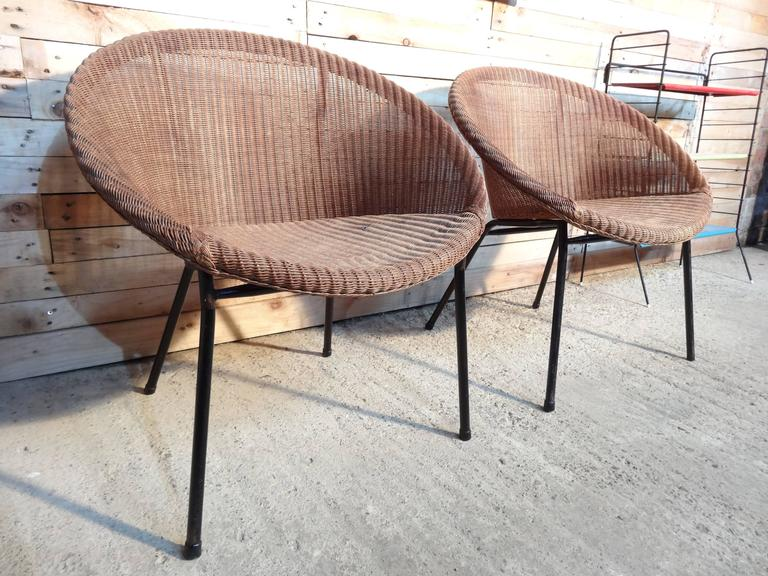 1960s Extremely Sought After Lloyds Loom Rotan Set of Chairs For Sale 2