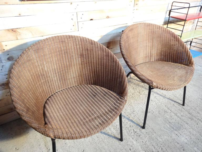 1960s Extremely Sought After Lloyds Loom Rotan Set of Chairs For Sale 3