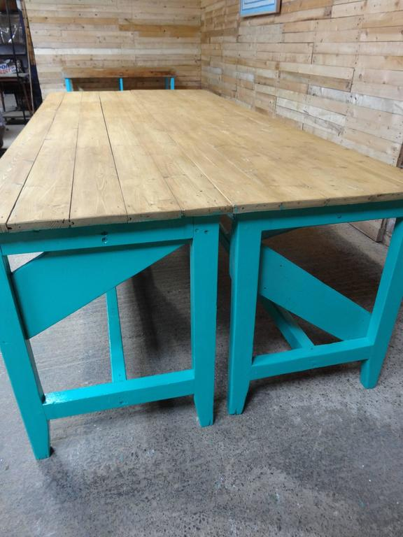 1910s Extra Large Light Retro Green Kitchen Table Or Shop