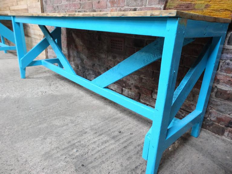 Industrial fabric cutting table we bought this out of the Windsor of Woollies knitwear mill, they made fabrics for the European royal families. This table would be ideal for a shop fitout to display goods, we have two other blue tables in this style