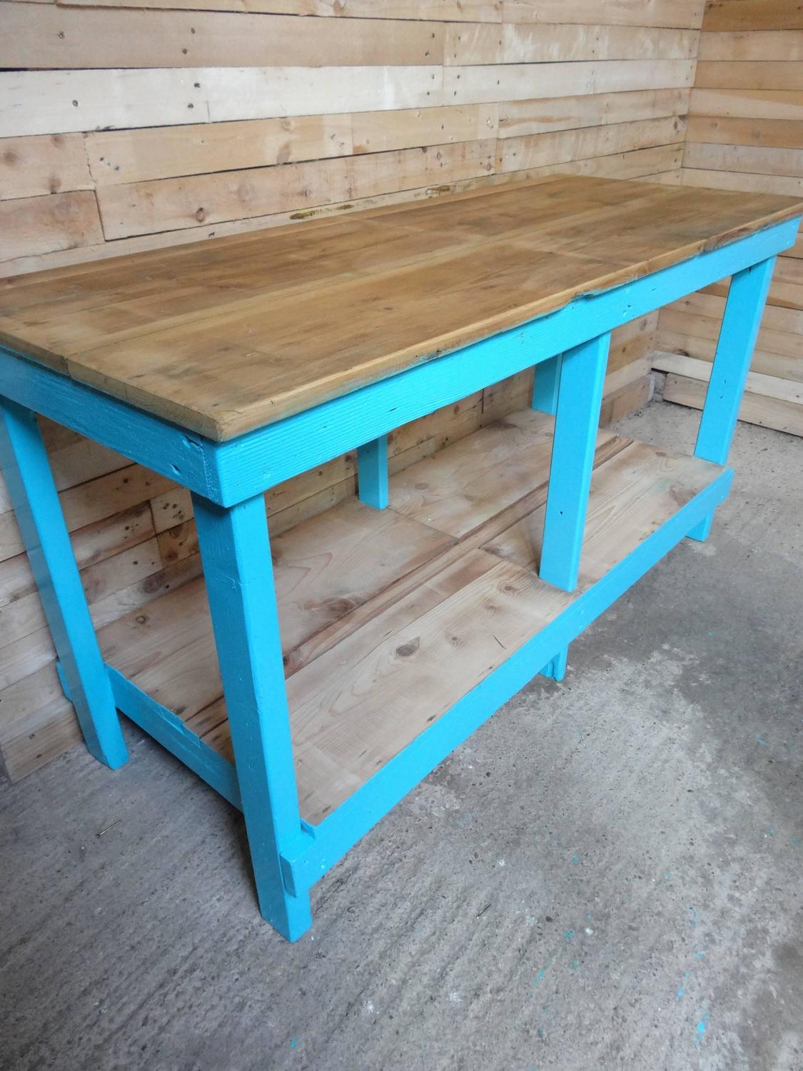 1910s industrial sewing table or large kitchen table for
