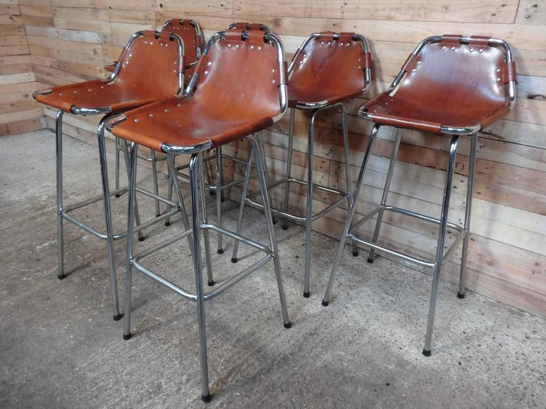Mid-Century Modern Selected by Charlotte Perriand for the Les Arcs Ski Resort, Six High Bar Stools For Sale