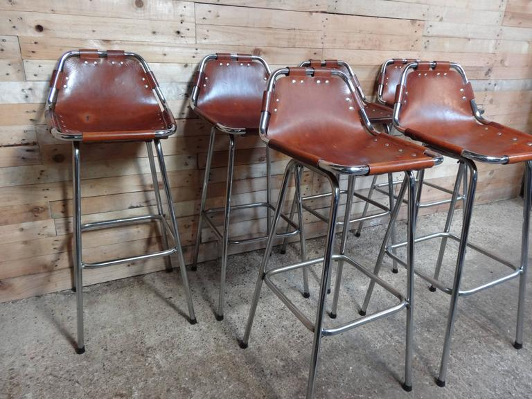 French Selected by Charlotte Perriand for the Les Arcs Ski Resort, Six High Bar Stools For Sale