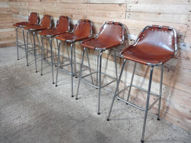 Selected by Charlotte Perriand for the Les Arcs Ski Resort, Six High Bar Stools In Excellent Condition For Sale In Cowthorpe, North Yorkshire