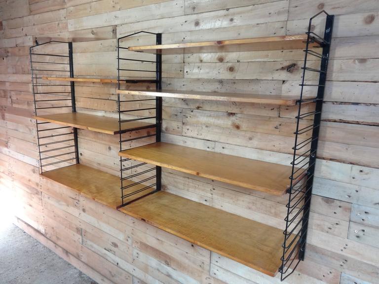 1950 39 s vintage industrial retro metal and light wooden. Black Bedroom Furniture Sets. Home Design Ideas