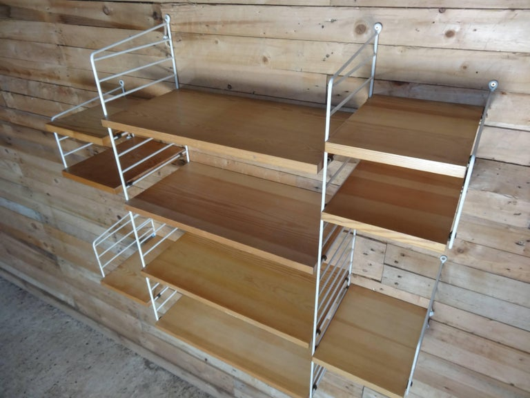 Mid-Century Modern Large Wall Shelving Unit by Nisse Strinning for String, 1960s For Sale